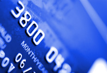 Macro Of Credit Card. Shallow Depth Of Focus. Toned In Blue