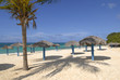 Sandy beach of tropical resort with umbrelas and palm tree