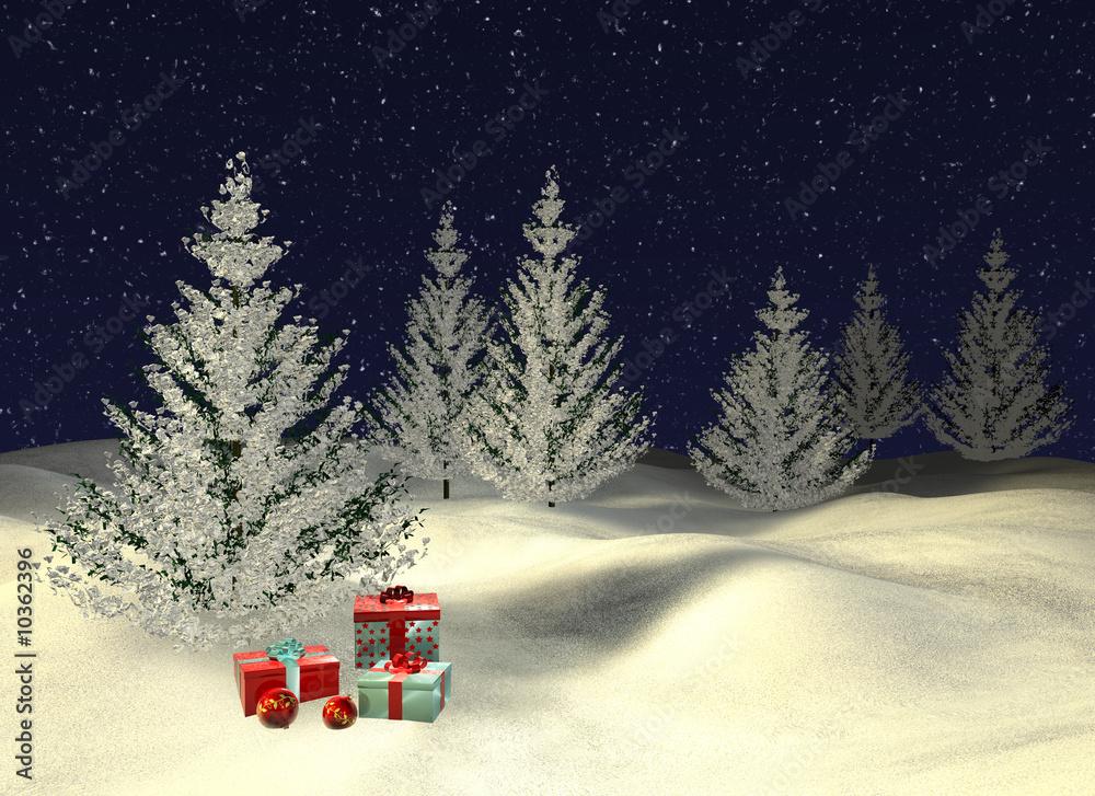 Foto-Doppelrollo - verschneite Tannen mit Weihnachtsgeschenken