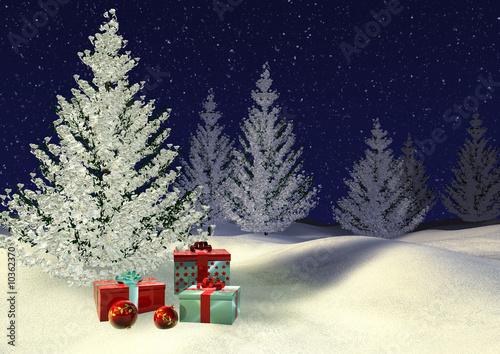 Foto-Plissee - verschneite Tannen mit Weihnachtsgeschenken (von Phoenixpix)
