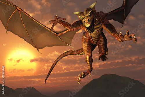 Fotobehang Draken 3D render of a dragon flying at sunset.