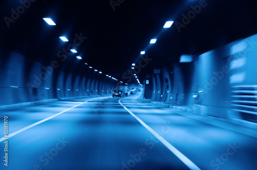 Poster Autoroute nuit highway tunnel at night