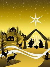 Golden Nativity On A Mountain