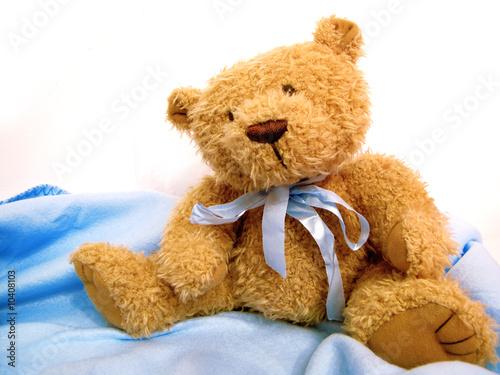 Fotografie, Obraz  Teddy Bear On White And Blue