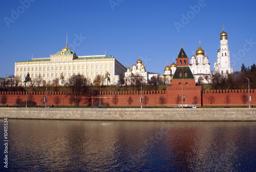 Moscow Kremlin wall, cathedrals, palace and river Canvas Print