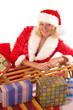 canvas print picture - Weihnachtsfrau mit Schlitten und Geschenken