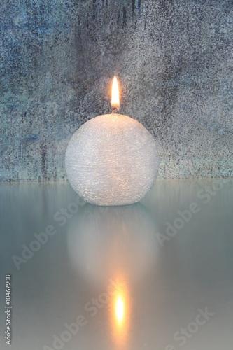 Doppelrollo mit Motiv - Kerze mit blauem Hintergrund