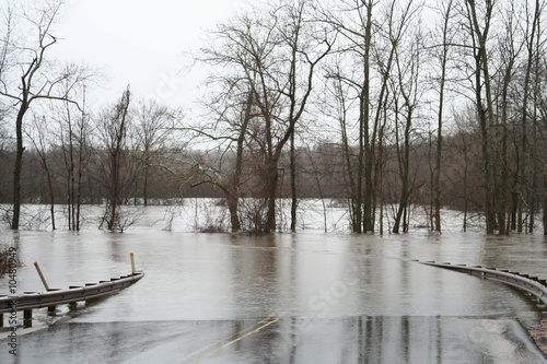 Fotografie, Obraz  Flood waters over road