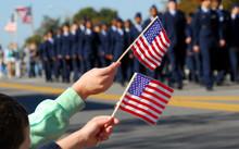 Flag Waving At Veteran's Day P...