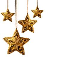 Gold Beaded Stars Isolated On White Background