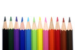 Many color pencils isolated on white background.
