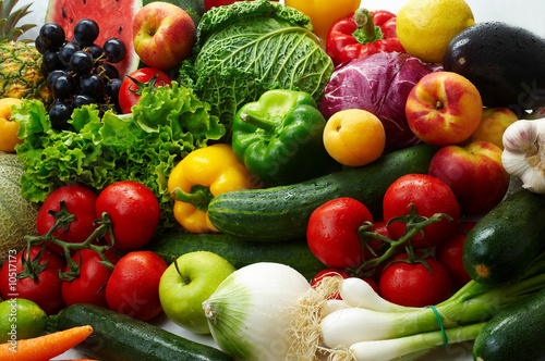 Foto op Plexiglas Keuken Group of different fruit and vegetables