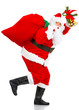 Happy running Christmas Santa. Isolated over white background.