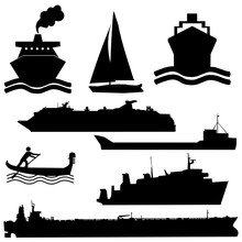 Assorted Boat Silhouettes Ferr...