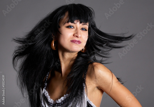 5f80a4285b pretty brunette model poses in maid clothes - Buy this stock photo ...