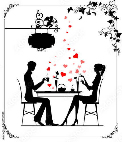 Photo Silhouette of the couple in the cafe, illustration