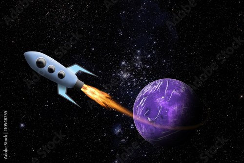 Garden Poster Cosmos Spaceship and Planet in Space