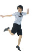 happy Asian young man jumping