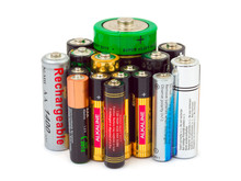 Group Of Batteries Isolated On...