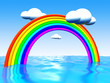 Abstract 3d illustration of background with sea and rainbow