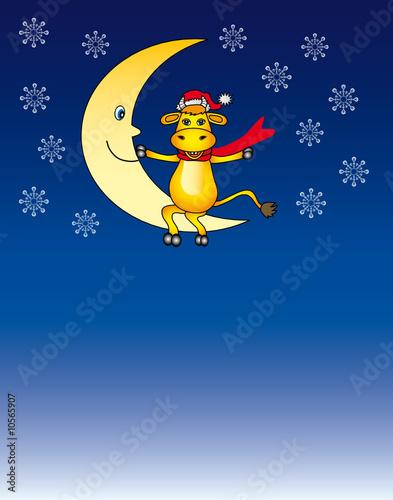 Foto op Plexiglas Hemel the santa cartoon bull for your design
