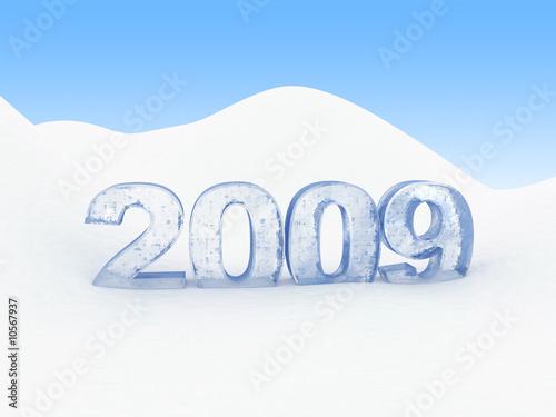 Fotografia  3d illustration of frozen text '2009' in snow