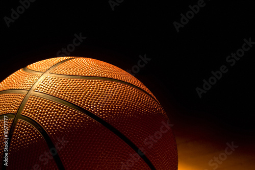 Basketball left on the court