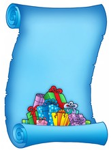 Blue Parchment With Pile Of Gifts