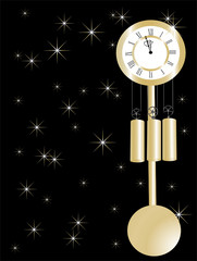 New year clock in gold and black