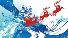 Santa Claus And His Sleigh Flying & Floral Background