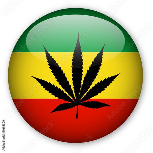 Photo  Rasta Flag Button with Cannabis Leaf
