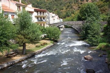Fototapeta na wymiar Pont sur la rivière Aude,Axat