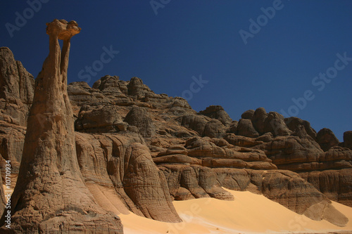 Poster Algeria Sculptures de pierre au sahara