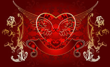 Red Background Golden Cupid