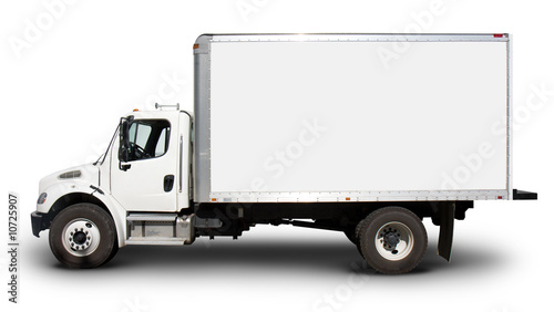 Fotografie, Obraz  White Delivery Truck Side View