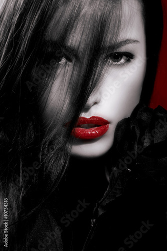 Poster Rouge, noir, blanc red lips