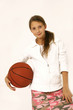 gir with basket ball in hands