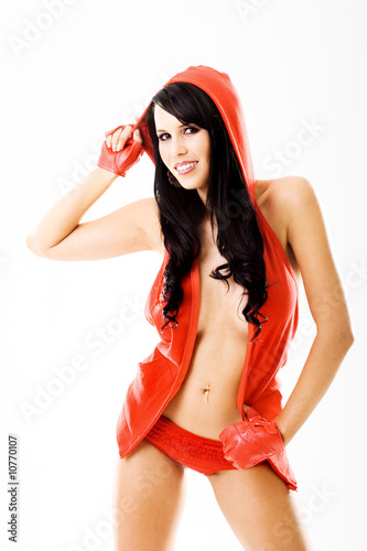 Fotografie, Tablou  Sexy young lady in red dress