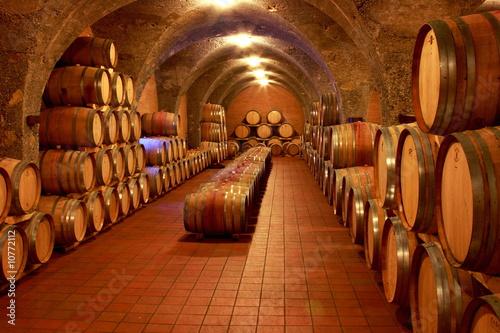 Weinkeller, Eichenfässer, Barrique, Rotwein, Toskana Obraz na płótnie