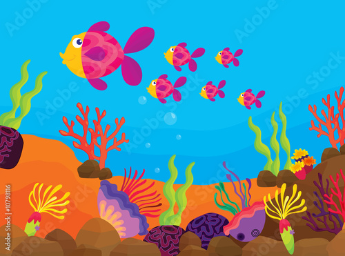 Aluminium Prints Submarine tropical fish