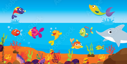 Wall Murals Submarine tropical fish
