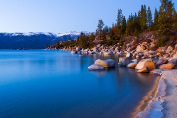 Lake Tahoe in Winter after sunset