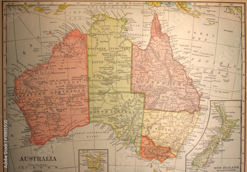 Printed kitchen splashbacks Australia map,antique,vintage,australia,old