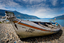 Beached Boat In Chile's Lake District