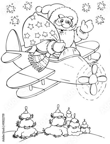 Fotobehang Cartoon draw Santa Claus