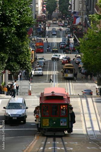 Poster Londres bus rouge Strasse in San Francisco mit Cablecar, Kalifornien - USA