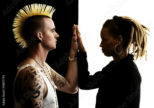 Man with Mohawk and Woman with Dreadlocks Wallpaper Mural