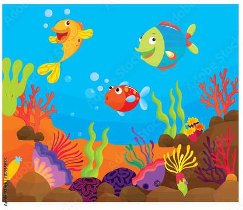 Aluminium Prints Submarine reef fish underwater illustration