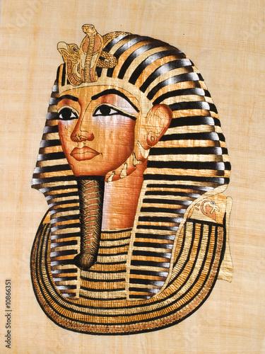 Foto-Stoff bedruckt - Egyptian papyrus, Tutankhamen's mask (von Jose Ignacio Soto)
