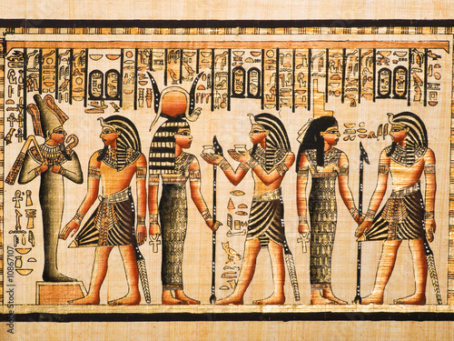 Poster Egypte Papyrus showing Tutankhamen with Osiris, Hathor and Isis